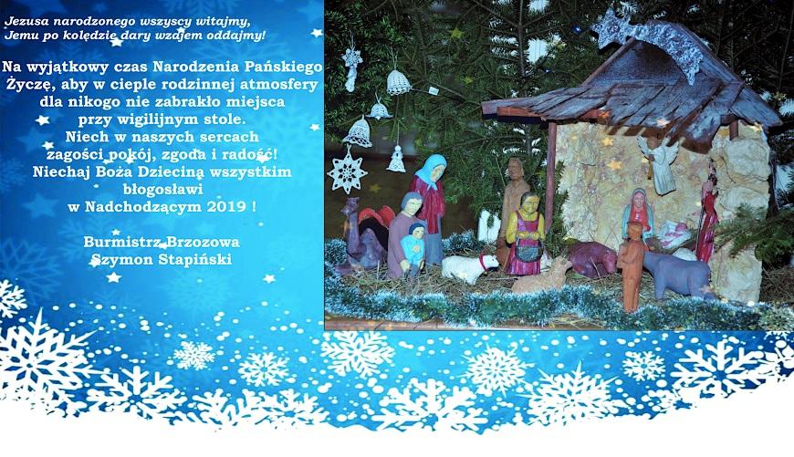 Szymon Stapiński, burmistrz Brzozowa, składa życzenia z okazji świąt Bożego Narodzenia i Nowego Roku.